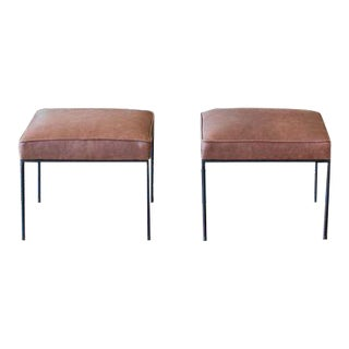 Paul McCobb Leather Bench Stools - A Pair