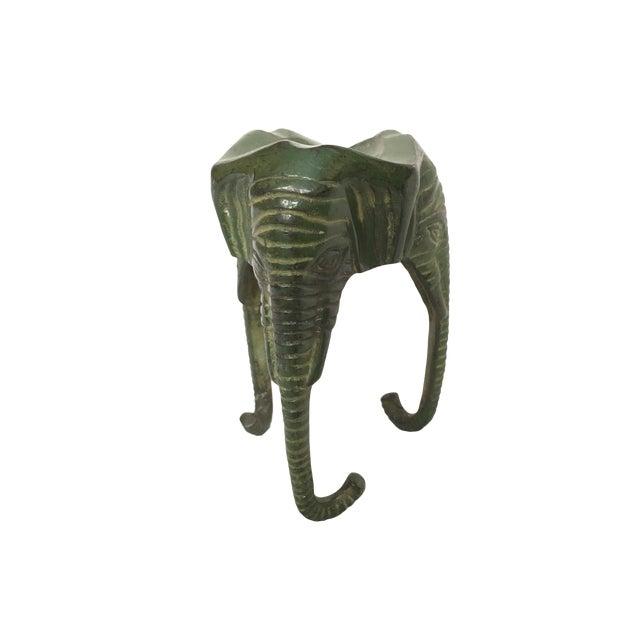 Late 20th Century Green Enamel Metal Elephant Cigar Holder For Sale