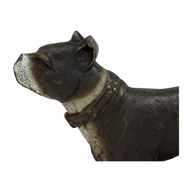 Large size heavy American cast iron Boston Terrier doorstop with original hand painted features. Made by the Bradley&...