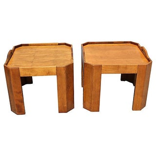 Mid-Century Modern Birch Serving Tray Tables - A Pair For Sale