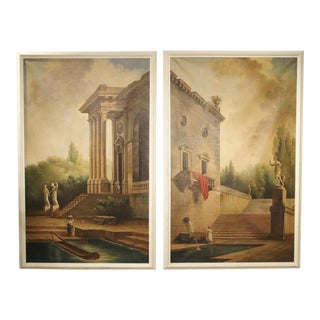 Pair of Large Scale Italian Landscape Oil on Canvas Paintings, Early 1900s For Sale