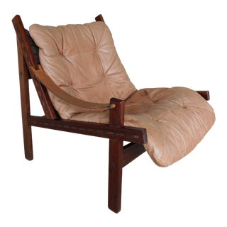Vintage Leather Teak Sling Accent Club Chair For Sale
