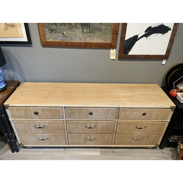 Campaign 1970's Drexel Heritage Accolade Campaign Style Credenza For Sale - Image 3 of 9
