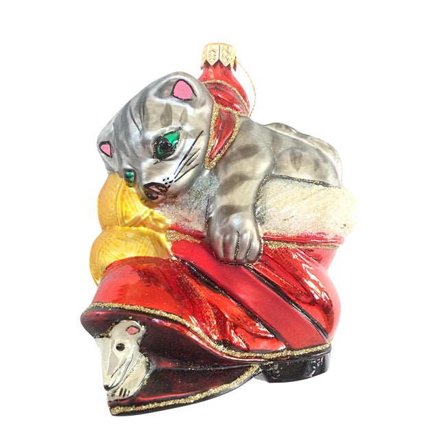 Christopher Radko Cat in Boot Christmas Ornament For Sale