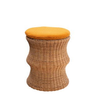 Eero Aarnio Wicker & Upholstered Ottomans or Stools (2 Available) For Sale
