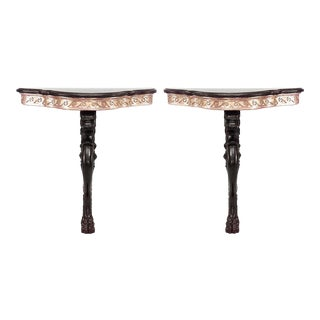 Pair of English Regency Style Lion Leg Bracket Console Table For Sale