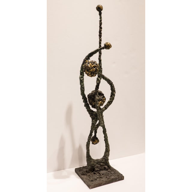 "Brutalist sculpture of patinated steel and fused bronze, with a sinuously abstract botanical aspect, titled ""Deflection.""..."