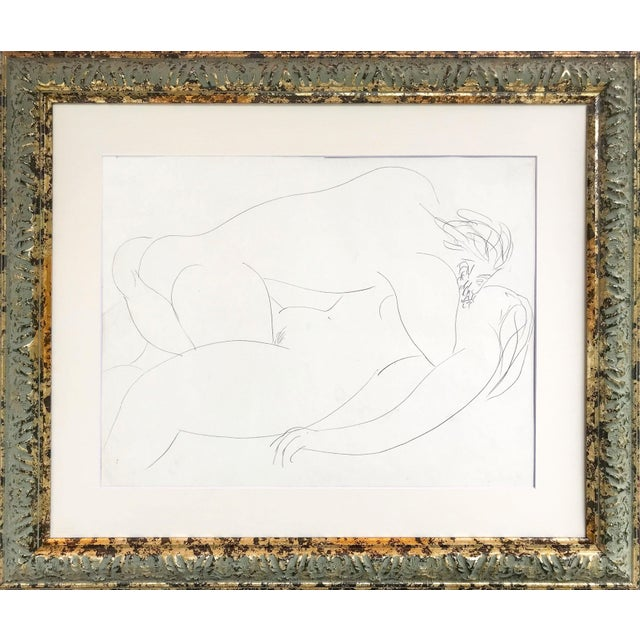 Vintage French Abstract Erotic Nude Pencil Drawing Paris 1951 For Sale In New York - Image 6 of 6