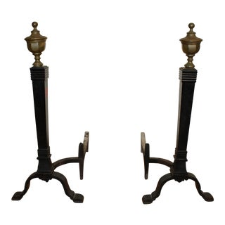 Solid Brass & Cast Iron Andirons - A Pair