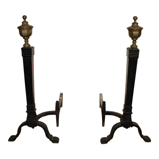 Solid Brass & Cast Iron Andirons - A Pair For Sale