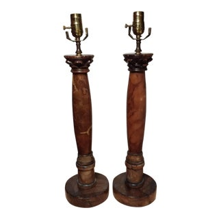 Vintage Pillar/Column Style Marble Stone Table Lamps - A Pair