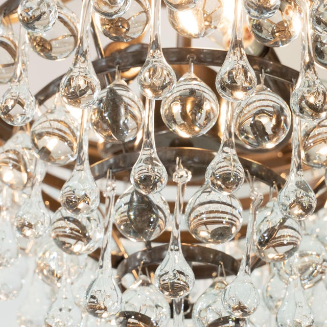 Late 20th Century Modernist Five-Tier Oil Rubbed Bronze Handblown Translucent Tear Drop Chandelier For Sale - Image 5 of 9