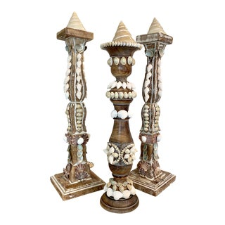 Wooden Shelled Decorative Candle Stick Holders - Set of 3 For Sale
