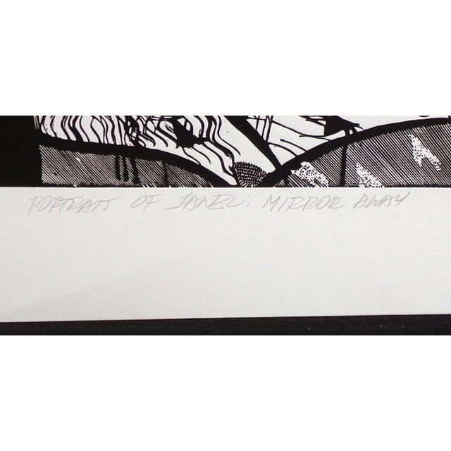 "1980s Susan B. Hale Kemenyffy ""Portrait of Janel : Mirror Away"" Signed Vintage Linocut Unframed For Sale - Image 5 of 8"