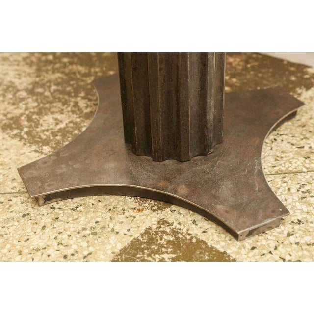Iron Two Fluted Iron and Stone Side Tables For Sale - Image 7 of 9