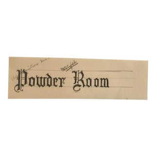 Mid-Century Powder Room Sign Design For Sale