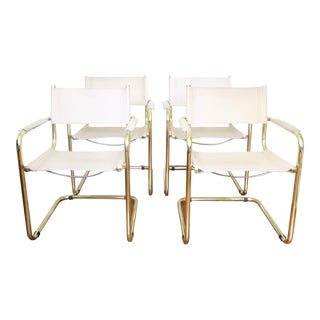 Brass & Leather Italian Dining Chairs - Set of 4