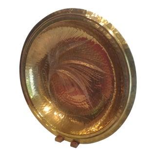 Vintage Hammered Etched Brass Shallow Bowl For Sale