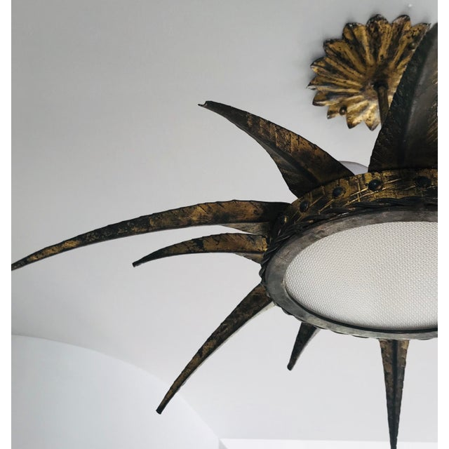 1950s 1950s French Sunburst Ceiling Mount Fixture For Sale - Image 5 of 9