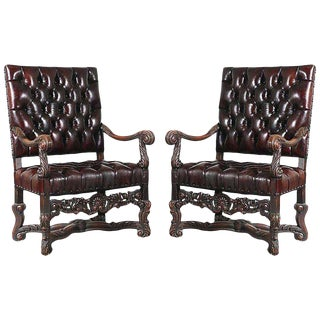 Antique Italian Leather Chairs - a Pair