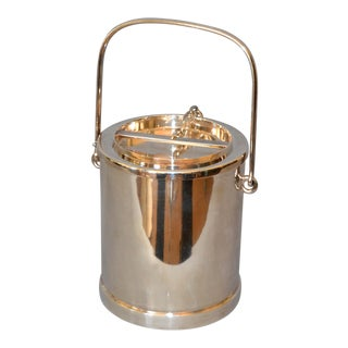 Mid-Century Modern Silver Plate Miniature Bar Ice Bucket Double Wall Insulated For Sale