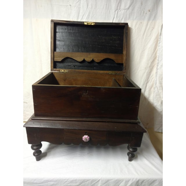 Brown 1920s Antique Small Anglo Indian Pettagama Wooden Dowry Chest For Sale - Image 8 of 8