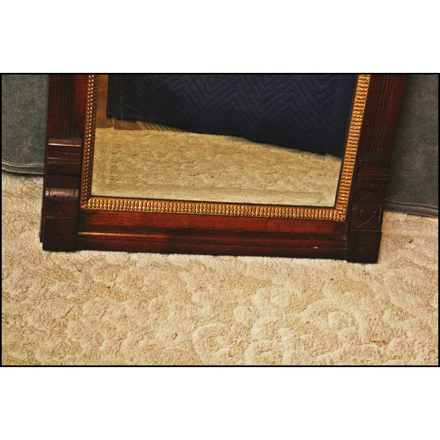 Antique Eastlake Heavy Carved Full Length Floor Mirror | Chairish