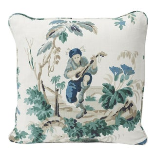 Schumacher Double-Sided Pillow in Plaisirs De La Chine Linen Print