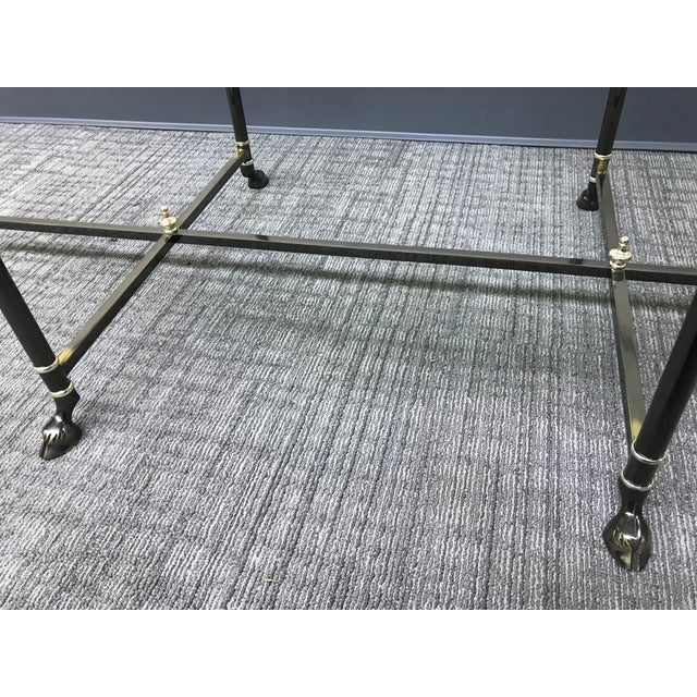 Ebonized Brass & Brass Oval Beveled Glass La Barge Hooved Coffee Table For Sale - Image 10 of 11