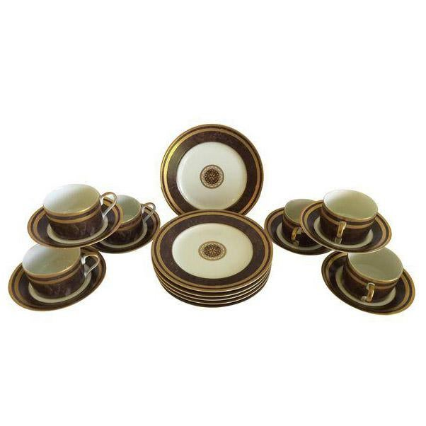 Mahogany Florentine Luncheon or Dessert China Set - 18 Pieces For Sale - Image 13 of 13