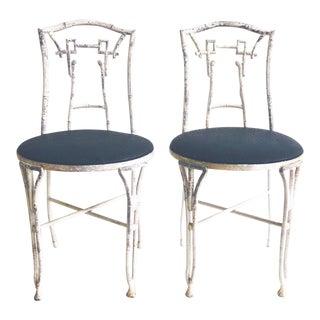 Pair Vintage Cast Aluminum Faux Bamboo Exterior Chairs