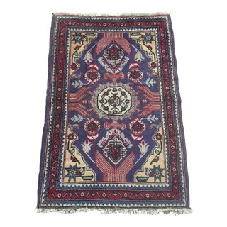 Vintage Persian Geometric Wool Accent Rug - 2′5″ × 3′7″ For Sale