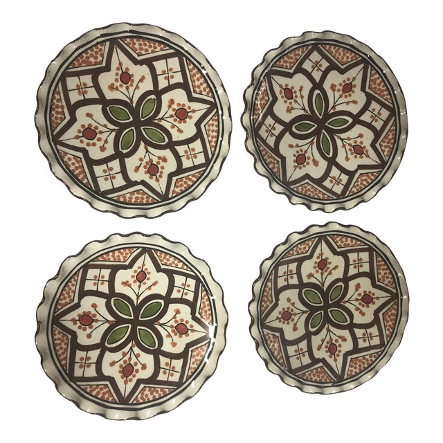 Moroccan Brown Hand Painted Plates Set Of 4 Chairish
