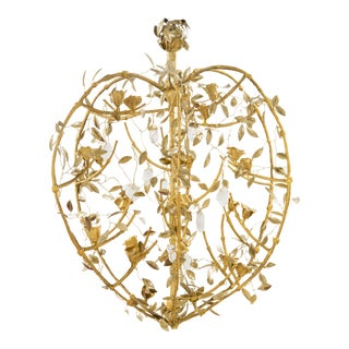 Rosebush Chandelier in Bronze and Rock Crystal, by Robert Goossens For Sale