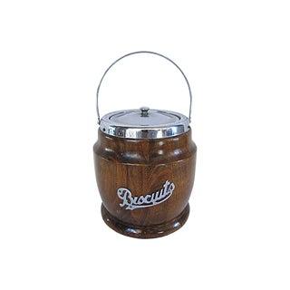 Vintage English Oak Biscuit Barrel For Sale