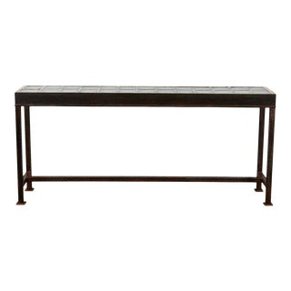 Iron Console with Vintage Glass Block Top For Sale