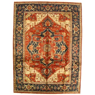 Pasargad Indo Hand-Knotted Serapi Rug - 9′ × 12′ For Sale