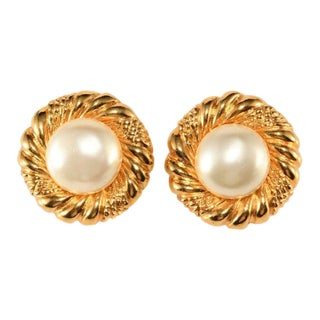 Chanel 1970s Faux Pearl Classic Round Earrings Vintage For Sale