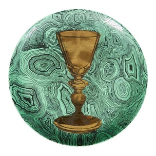 1950s Fornasetti Faux Malachite Goblet Plate For Sale