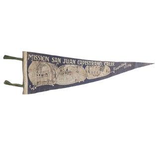 Vintage Mission San Juan Capistrano Felt Flag Pennant For Sale