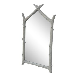 Large Faux Bois Wall Mirror For Sale