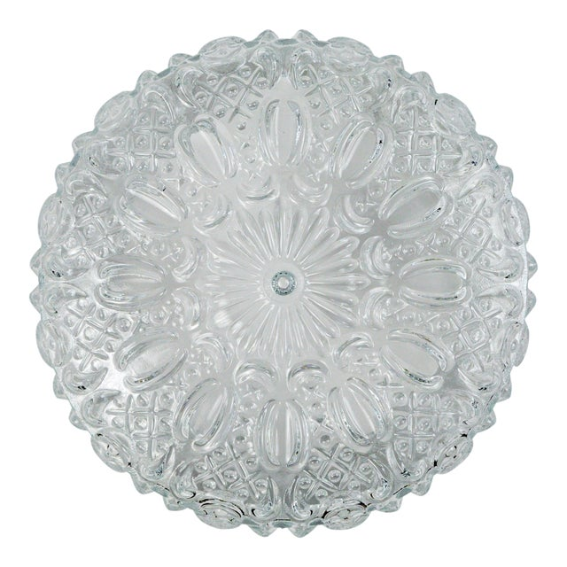 Mid Century Vintage Floral Hatch Limburg Glass Flush Mount (2 Available) For Sale