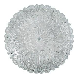 Mid Century Vintage Floral Hatch Limburg Glass Flush Mount For Sale
