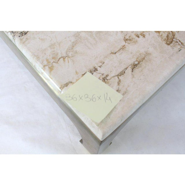 Gold 1970s Modern Solid Brass Base Square Travertine Top Coffee Table For Sale - Image 8 of 10