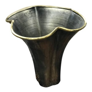 Metal and Brass Scalloped Rim Vase