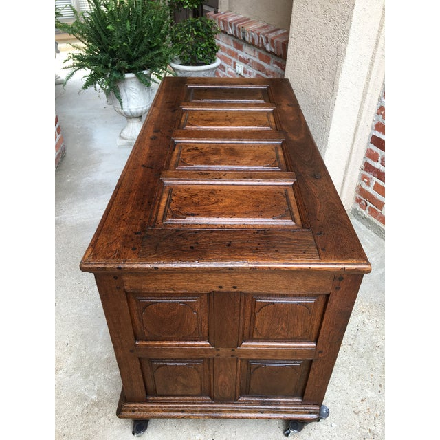1900s Antique French Country Carved Oak Mule Chest Bench Coffer Trunk For Sale - Image 11 of 13