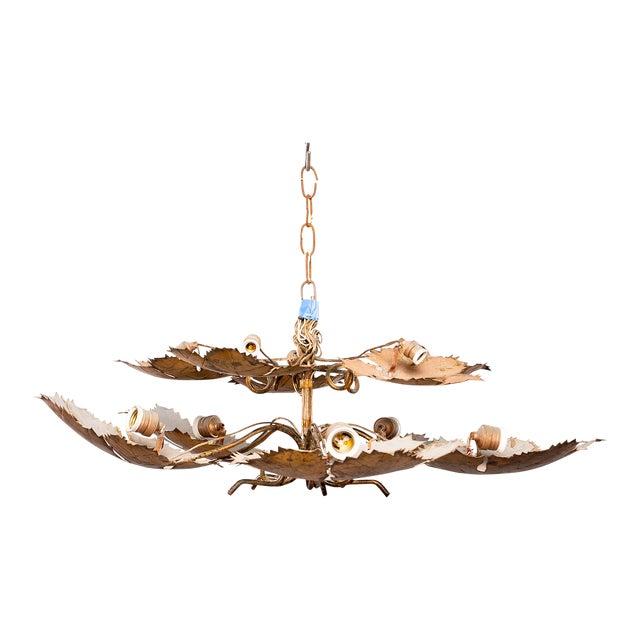 Spanish Gilt Metal Leaf Form Five Light Hanging Fixture For Sale