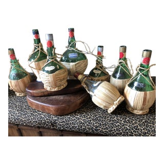Vintage Italian Demijohn Wine Bottles - Set of 8 For Sale