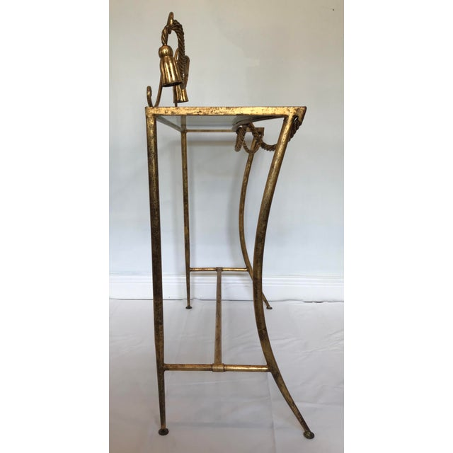 Metal Vintage Italian Gold Metal Faux Rope Tassel Hollywood Regency Vanity Console Table For Sale - Image 7 of 12