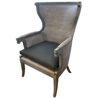 Fremont Leather Wing Chair With Wood Trim